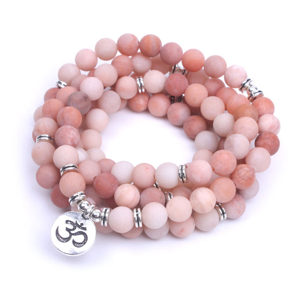 Pink Aventurine Natural Stone Frosted Mala Bracelet OM, Lotus or Buddha Charm - Olafo's