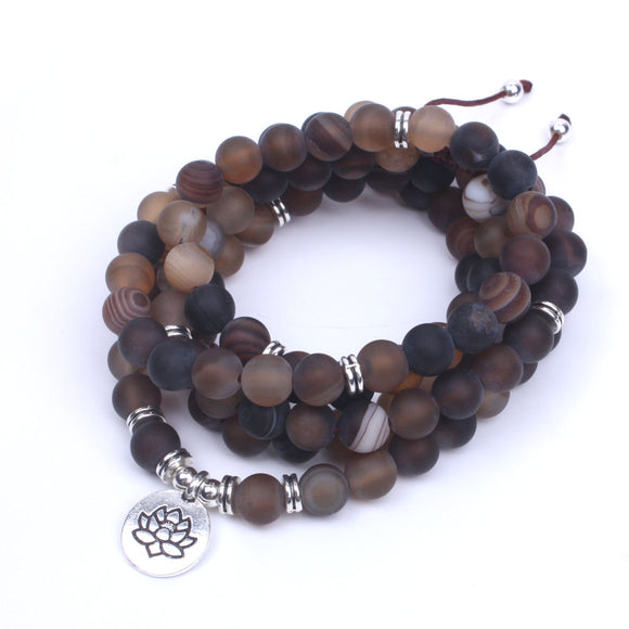 Brown Onyx Frosted Natural Stone Yoga Necklace with OM, Lotus or Buddha Charm - Olafo's