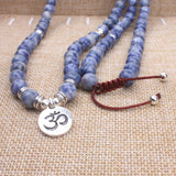 Sodalite Natural Stone Beads and Ancient Silver Charm Pendant Mala Necklace - Olafo's