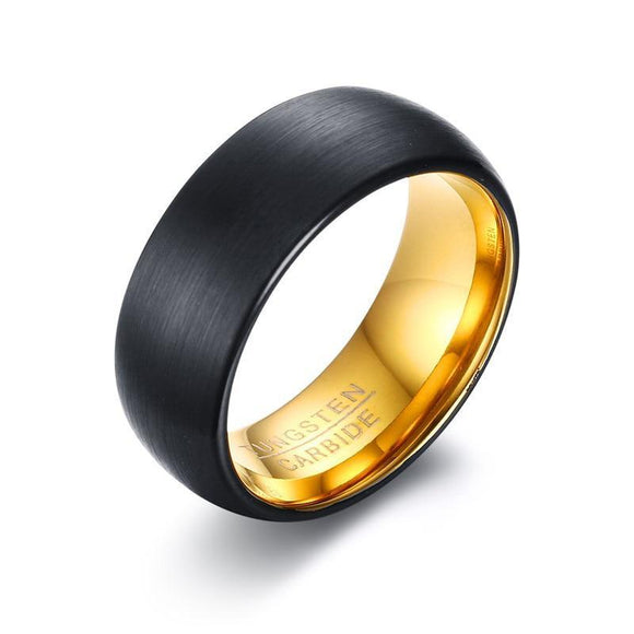 Tungsten Carbide Men Ring Gold/Black Color Wedding Bands - Olafo's