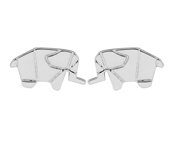 Minimalist Jungle Origami Elephant Stud Earrings - Olafo's
