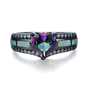 Black Gold Multi Color Heart Zircon and Opal Ring - Olafo's