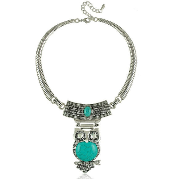 Tibetan Silver Plated Turquoise Stone Owl Pendant Choker Necklace - Olafo's