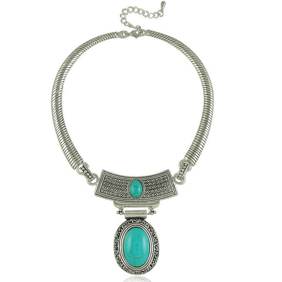 Tibetan Silver Plated Oval Turquoise Stone Pendants Choker Necklace - Olafo's