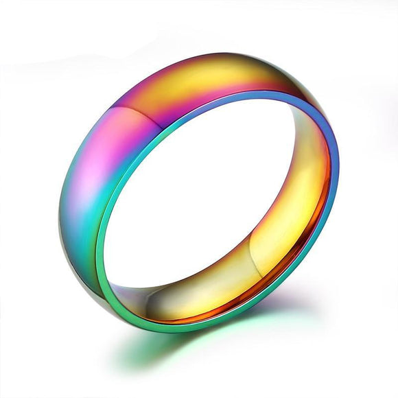 Rainbow Ring 6mm Wide Stainless Steel Engagement Wedding - Olafo's