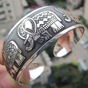 Elephant Tibetan Totem Wide Bracelet Bangle - Olafo's