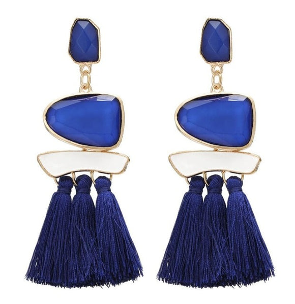 Vintage Drop Dangle Wide Tassel Earrings - Olafo's