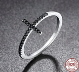 925 Sterling Silver Cross Ring With Black Cubic Zirconia - Olafo's