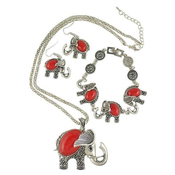 Vintage Jewelry Set Unique Elephant Design - Olafo's
