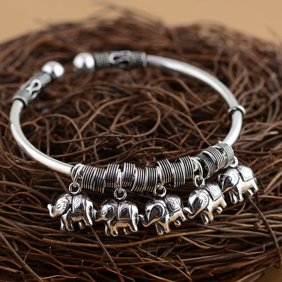 Thai Elephant Charms Bangle 925 Sterling Silver - Olafo's
