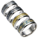 Vintage Gold Silver Dragon 316L Stainless Steel Men's Ring - Olafo's