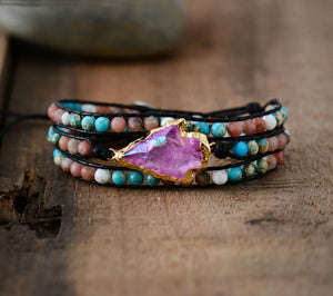 Handmade Natural Stones Gilded Arrowhead Quartz Wrap Bracelet Vegan Leather - Olafo's