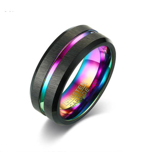 Tungsten Carbide Black Brushed Rainbow Ring - Olafo's