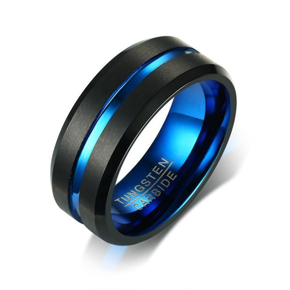 Tungsten Carbide Ring Black & Blue Matte Finished Wedding Band - Olafo's