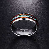 Tungsten Carbide Hawaiian Koa Wood and Abalone Shell Ring 8mm - Olafo's