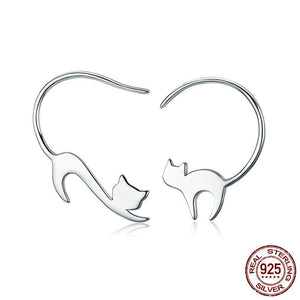 Cat Earrings 925 Sterling Silver Little Cat Drop Earrings - Olafo's