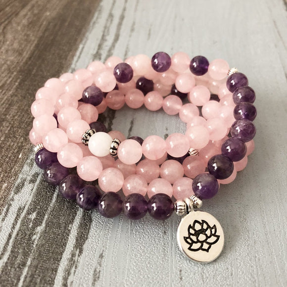 Rose Quartz Amethysts Yoga Necklace & Bracelet Lotus Charm 108 Mala Beads - Olafo's