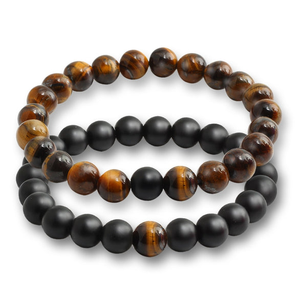 2 Piece Set Tiger Eye Stone Black White Natural Lava Stones Classic Bracelet - Olafo's