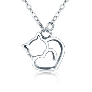Cat Pendants 925 Sterling Silver Cat Heart Pendant Necklace - Olafo's