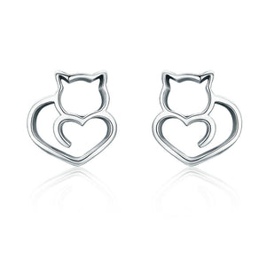 Cat Earrings 925 Sterling Silver Cat  Stud Earrings - Olafo's