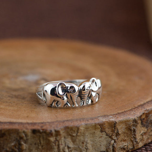 Elephant Ring 925 Sterling Silver Double elephant Soulmate - Olafo's