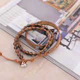 Triple Leather Wrap Bracelet Natural Stone Handmade Multilayer Mala Beads - Olafo's