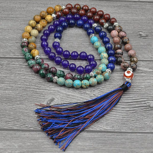 7 Chakra Mala Bead Unique 8MM Natural Stone Long Tassel Necklace for Meditation Yoga - Olafo's