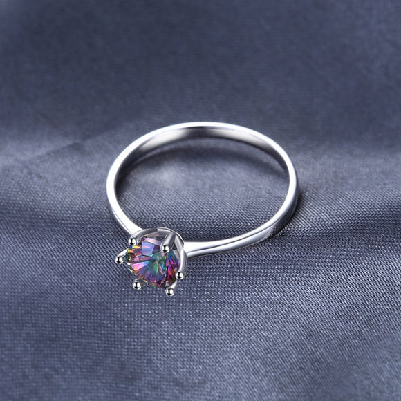 Natural Mystic Fire Rainbow Topaz Engagement Ring 925 Sterling Silver - Olafo's