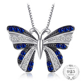 Butterfly 0.4ct Created Blue Spinel Pendant 100% 925 Sterling Silver - Olafo's