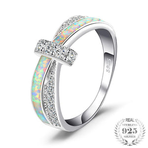 Opal Crossover Band Ring 925 Sterling Silver - Olafo's