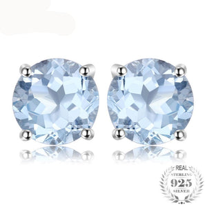 Round 2ct Natural Sky Blue Topaz Birthstone Stud Earrings 925 Sterling Silver - Olafo's