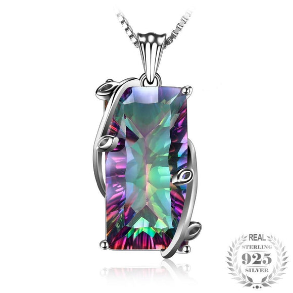 Genuine Natural Fire Rainbow Mystic Topaz 17.8ct Necklace Pendant 925 Sterling Silver - Olafo's