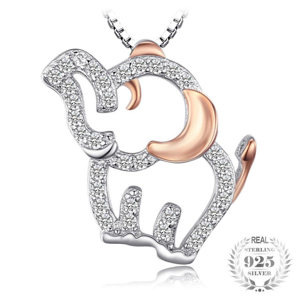 Elephant Lovely Round Cubic Zirconia Pendant 925 Sterling Silver - Olafo's