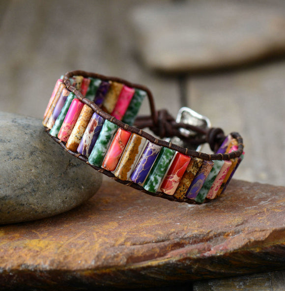 Handmade Colorful Boho Natural Stone Bracelet - Olafo's