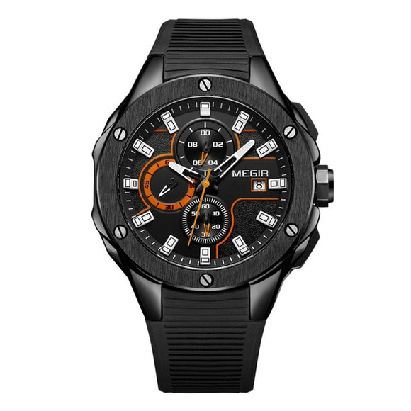 MEGIR Men Sport Watch Chronograph Silicone Strap Quartz - Olafo's