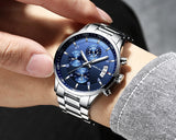 Luxury Waterproof Watch Stainless Steel Strap for Men with chronograph - Olafo's