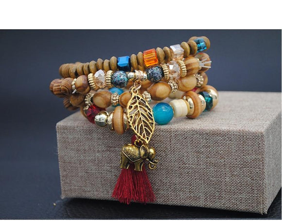 Boho Multilayer Beads Charm Bracelet - Olafo's