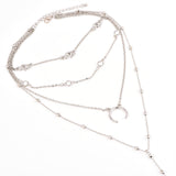 Elephant Moon Multilayer Chain Choker Silver Pendant Necklace - Olafo's