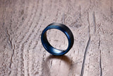 Wide Black/Blue Tungsten Carbide Matte Finished Ring - Olafo's
