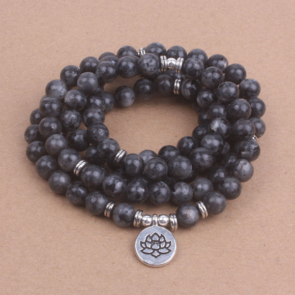 Mala Bead Labradorite with Lotus, OM OR Buddha Charm Yoga Bracelet Necklace 108 Mala Bead - Olafo's