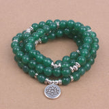 Green Onyx Beads with Lotus, OM or Buddha Charm Yoga Bracelet Necklace - Olafo's