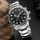 Military Sport Watches Men LED Analog Digital Watch Army Stainless Quartz Clock - Olafo's