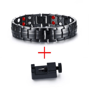 Black Stainless Steel Germanium Far Infrared Magnetic Energetic Mens Bracelet - Olafo's