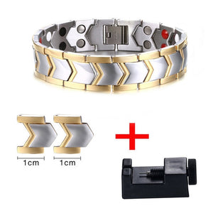 Stainless Steel Germanium Far Infrared Magnetic Energetic Mens Bracelet - Olafo's