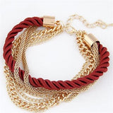 Handmade Gold Chain Braided Rope Multilayer Bracelet - Olafo's