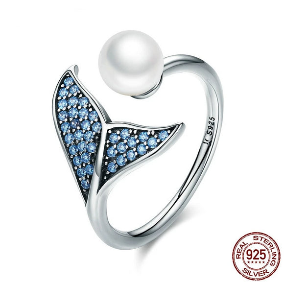 Mermaid Whale Tail Adjustable Ring 925 Sterling Silver & Pearl Blue Cubic Zircon - Olafo's