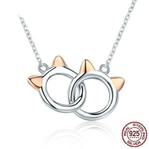 Intertwined Cats Pendant 925 Sterling Silver - Olafo's