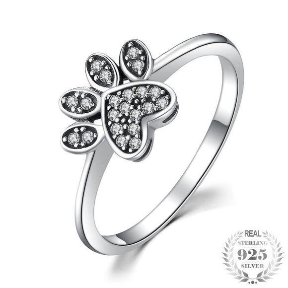 Paw print Pave 0.2ct Cubic Zirconia 925 Sterling Silver Ring - Olafo's