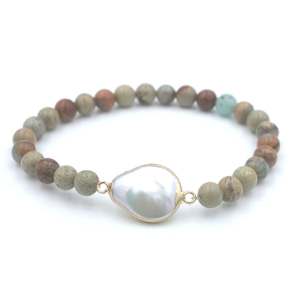African Stone and Pearl Bracelet - Olafo's
