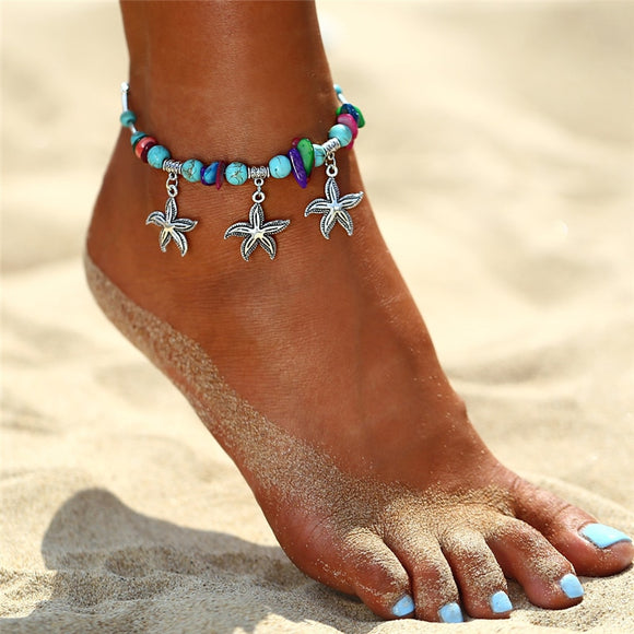 Sea Turtle, Elephant, Starfish, Owl, Wave, Heart Charms Anklets - Olafo's